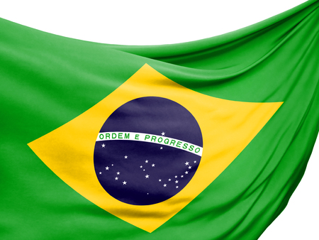 Closeup of rippled flag of Brazil on white background.