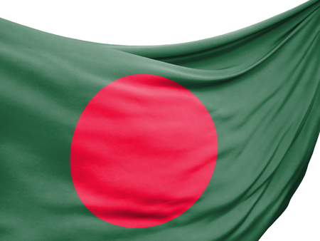 Closeup of rippled flag of Bangladesh on white background.