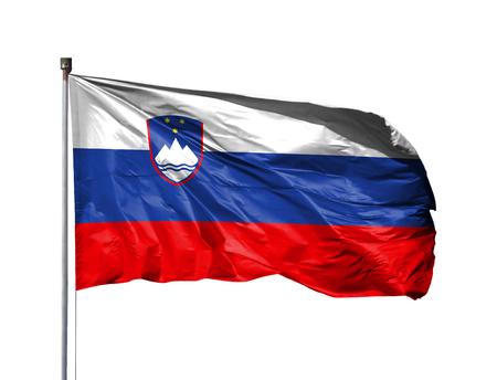National flag of Slovenia on a flagpole, isolated on white background.