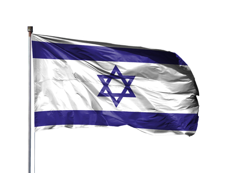 National flag of Israel on a flagpole, isolated on white background.