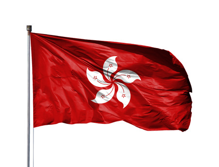 National flag of Hong Kong on a flagpole, isolated on white background.