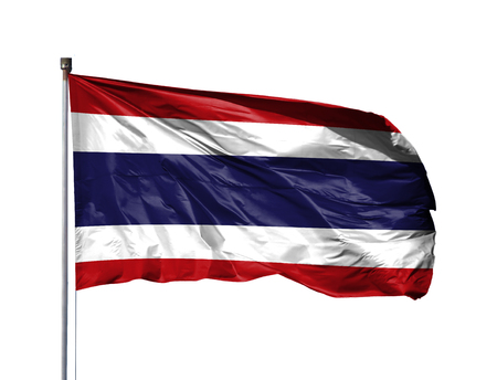 National flag of Thailand on a flagpole, isolated on white background.