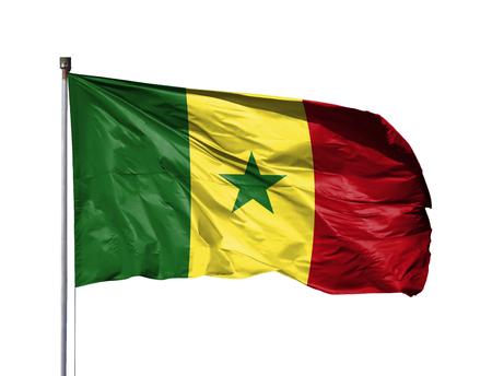 National flag of Senegal on a flagpole, isolated on white background.