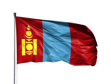 National flag of Mongolia on a flagpole, isolated on white background. Stockfoto