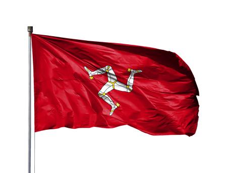 National flag of Isle Of Man on a flagpole, isolated on white background. Stock Photo