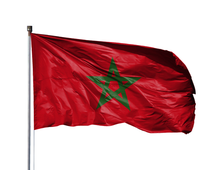National flag of Morocco on a flagpole, isolated on white background.