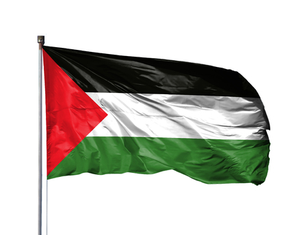 National flag of Palestine on a flagpole, isolated on white background.