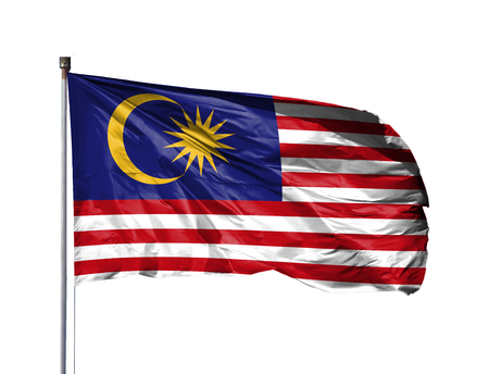 National flag of Malasia on a flagpole, isolated on white background.