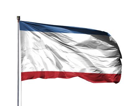 National flag of Crimea on a flagpole, isolated on white background.