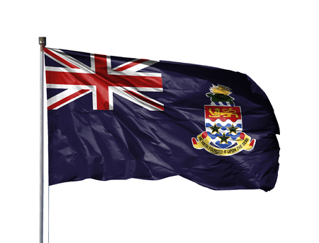National flag of Cayman islands on a flagpole, isolated on white background.