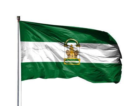 National flag of Andalusia on a flagpole, isolated on white background. Stock Photo