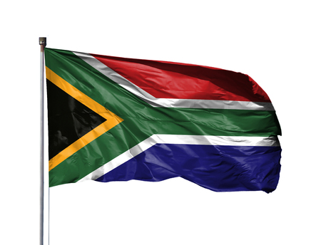 National flag of South Africa on a flagpole, isolated on white background.