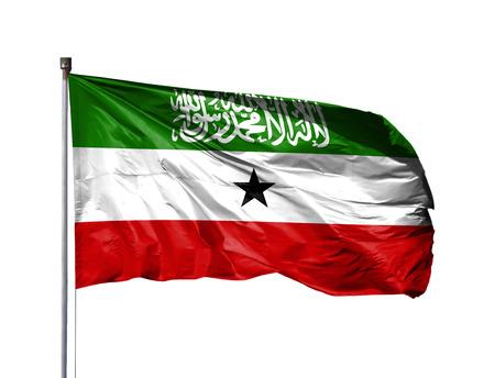 National flag of Somaliland on a flagpole, isolated on white background. Stock Photo