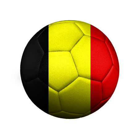 The flag of Belgium is depicted on a football, the ball is close up isolated on a white background.
