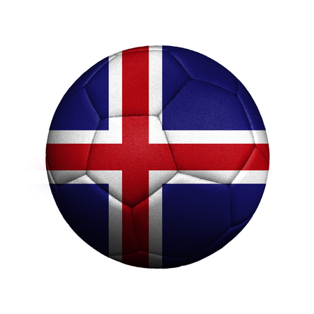 The flag of Iceland is depicted on a football, the ball is close up isolated on a white background.