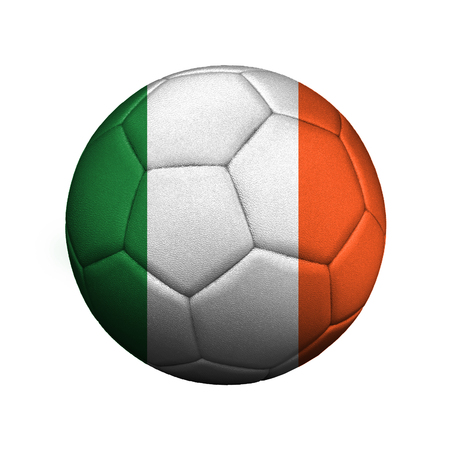 The flag of Ireland is depicted on a soccer ball, the ball is close up isolated on a white background.