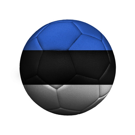 The flag of Estonia is depicted on a soccer ball, the ball is close up isolated on a white background.