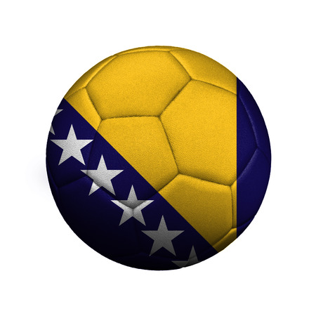 The flag of Bosnia and Herzegovina is depicted on a soccer ball, the ball is close up isolated on a white background. Stockfoto