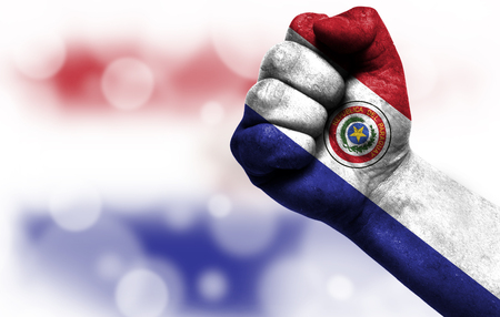 Flag of Paraguay painted on male fist, strength,power,concept of conflict. On a blurred background with a good place for your text.