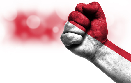 Flag of Indonesia painted on male fist, strength,power,concept of conflict. On a blurred background with a good place for your text.