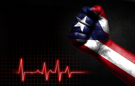 Flag of Puerto Rico painted on male fist, the concept image shows the strength of medicine or politics in countries, photography has a good place for your text. Reklamní fotografie
