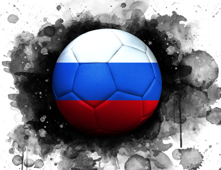 Soccer ball with flag of Russia, close up, watercolor effect on white background. 스톡 콘텐츠