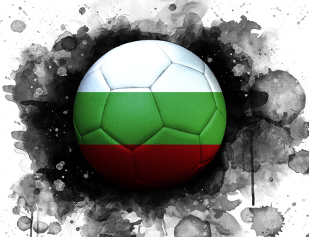 Soccer ball with flag of Bulgaria, close up, watercolor effect on white background.