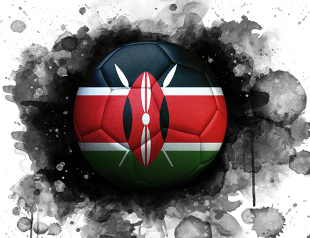 Soccer ball with flag of Kenya, close up, watercolor effect on white background.