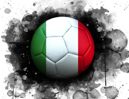 Soccer ball with flag of Italy, close up, watercolor effect on white background. 스톡 콘텐츠
