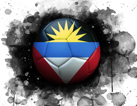 Soccer ball with flag of Antigua and Barbuda, close up, watercolor effect on white background. 스톡 콘텐츠