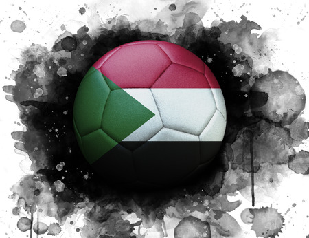 Soccer ball with flag of Sudan, close up, watercolor effect on white background. 스톡 콘텐츠