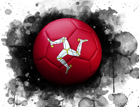 Soccer ball with flag of Isle Of Man, close up, watercolor effect on white background.