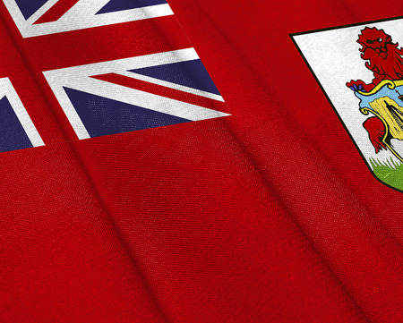Realistic flag of Bermuda Islands on the wavy surface of fabric. This flag can be used in design