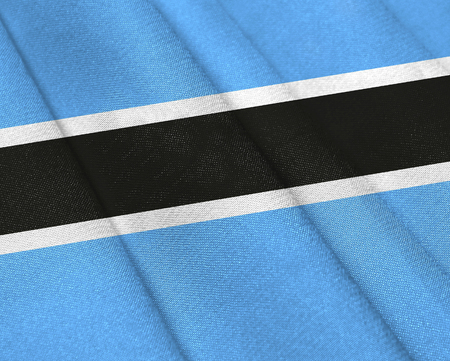 Realistic flag of Botswana on the wavy surface of fabric. This flag can be used in design
