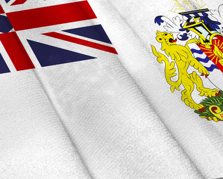 Realistic flag of British Antarctic Territory on the wavy surface of fabric. This flag can be used in design