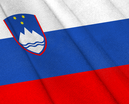 Realistic flag of Slovenia on the wavy surface of fabric. This flag can be used in design