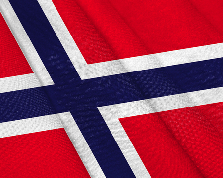 Realistic flag of Norway on the wavy surface of fabric. This flag can be used in design