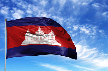 National flag of Cambodia on a flagpole in front of blue sky. Stok Fotoğraf - 106538646