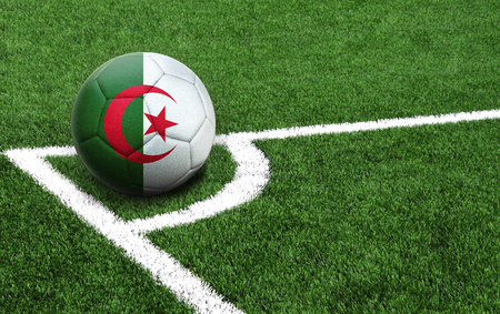 The flag of Algeria is depicted on a football, with a good place for your text