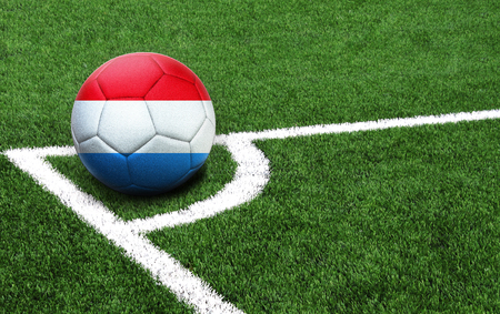 The flag of Luxembourg is depicted on a football, with a good place for your text