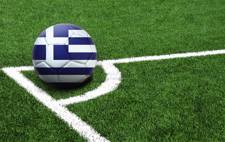 The flag of Greece is depicted on a football, with a good place for your text