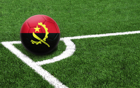 The flag of Angola is depicted on a football, with a good place for your text