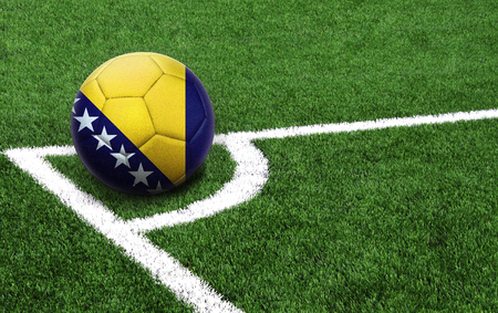 The flag of Bosnia and Herzegovina is depicted on a football, with a good place for your text