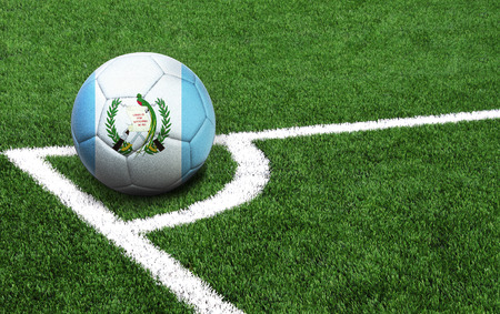 The flag of Guatemala is depicted on a football, with a good place for your text Stok Fotoğraf