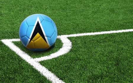 The flag of Saint Lucia is depicted on a football, with a good place for your text
