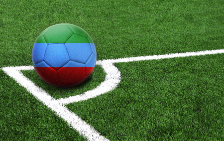 The flag of Dagestan is depicted on a football, with a good place for your text