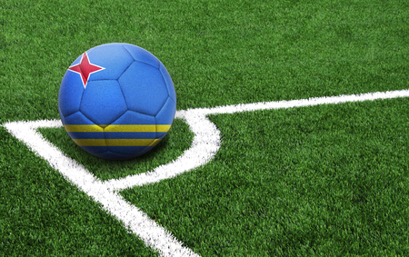 The flag of Aruba is depicted on a football, with a good place for your text Stock Photo