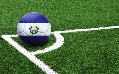 The flag of El Salvador is depicted on a football, with a good place for your text Banco de Imagens