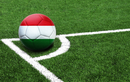The flag of Hungary is depicted on a football, with a good place for your text