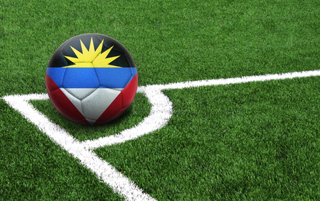 The flag of Antigua and Barbuda is depicted on a football, with a good place for your text 版權商用圖片